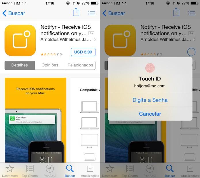 Comprando aplicativo na App Store (Foto: Reprodução/Helito Bijora)