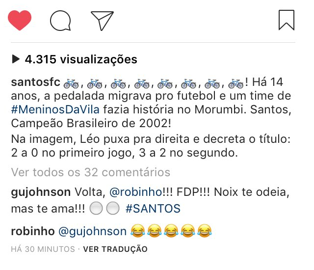 Robinho - Santos - Instagram