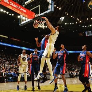 Klay Thompson na vitória do Warriors contra o Pistons NBA (Foto: Instagram Warriors)