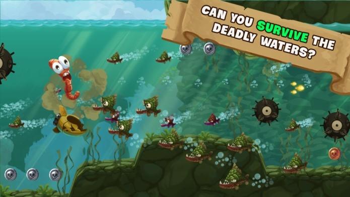 Fuja dos peixes em um jogo maluco onde você é uma minhoca (Foto: Divulgação)