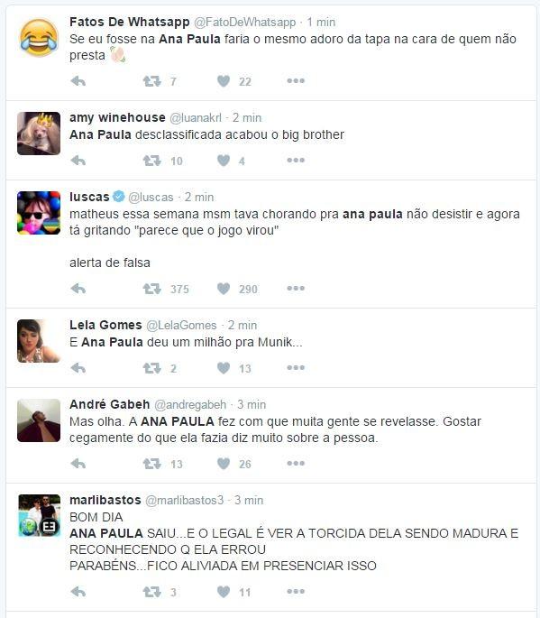 Internautas reagem à saída de Ana Paula do BBB 16 (Foto: Twitter / Reprodução)