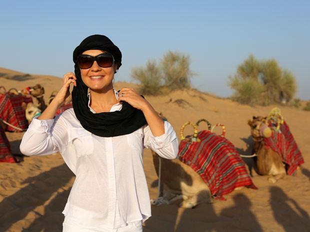 Tudo pronto! Atriz exibe o visual no estilo árabe (Foto: Isabella Pinheiro/Gshow)