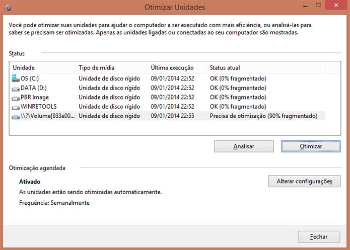 Clique em 'Otimizar' para desfragmentar a unidade necessária (Foto: Reprodução/Paulo Alves)