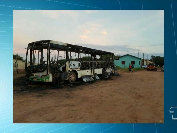 Fogo destruiu toda a estrutura do ônibus e causas devem ser investigadas (Foto: Reprodução/TV Tapajós)