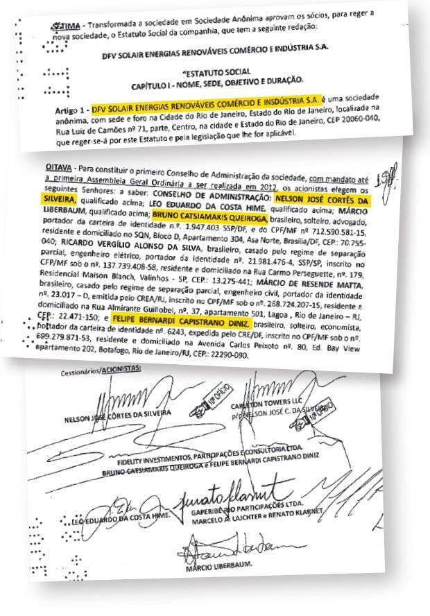 NOVOS NEGÓCIOS Trecho de contrato social da Brasil Solair, antes chamada DFV. Felipe Diniz e Bruno Queiroga, parceiros do lobista João Augusto, são sócios de Nélson Côrtes, irmão de um secretário  de Sérgio Cabral (Foto: Reprodução)