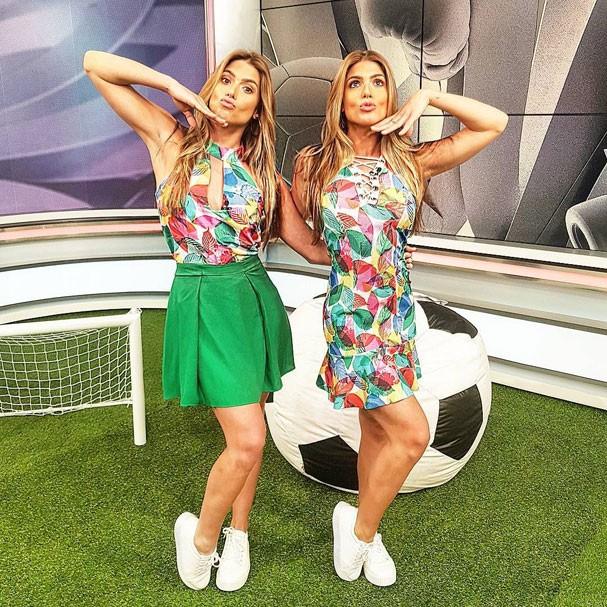 Bia e Branca Feres como apresentadoras de TV (Foto: Arquivo pessoal)