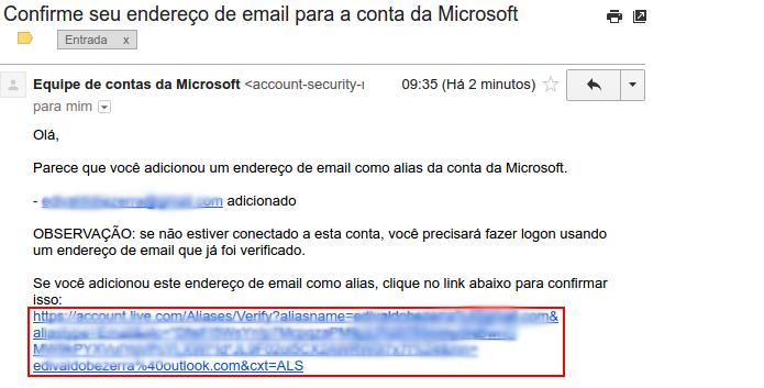 Clicando no link recebido para confirmar a verificação do novo e-mail (Foto: Reprodução/Edivaldo Brito)