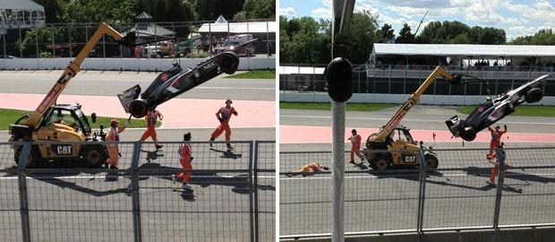 Fiscal é atropelado após GP do Canadá de Fórmula 1 (Foto: Reprodução / Twitter)