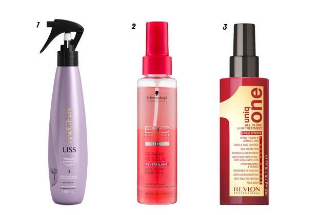 1.Spray Condicionante Thermal Antifrizz, Aneethun 2.S.O.S Elixir, Schwarzkopf 3.Máscara Leave-In Uniq One, Revlon (Foto: Divulgação)