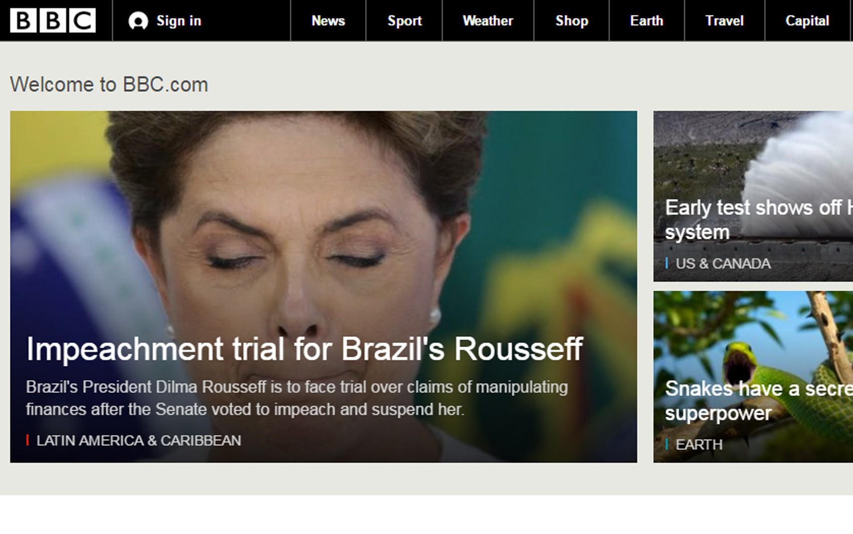 BBC destacou que Dilma deve estar afastada durante os jogos olímpicos (Foto: Reprodução/G1)