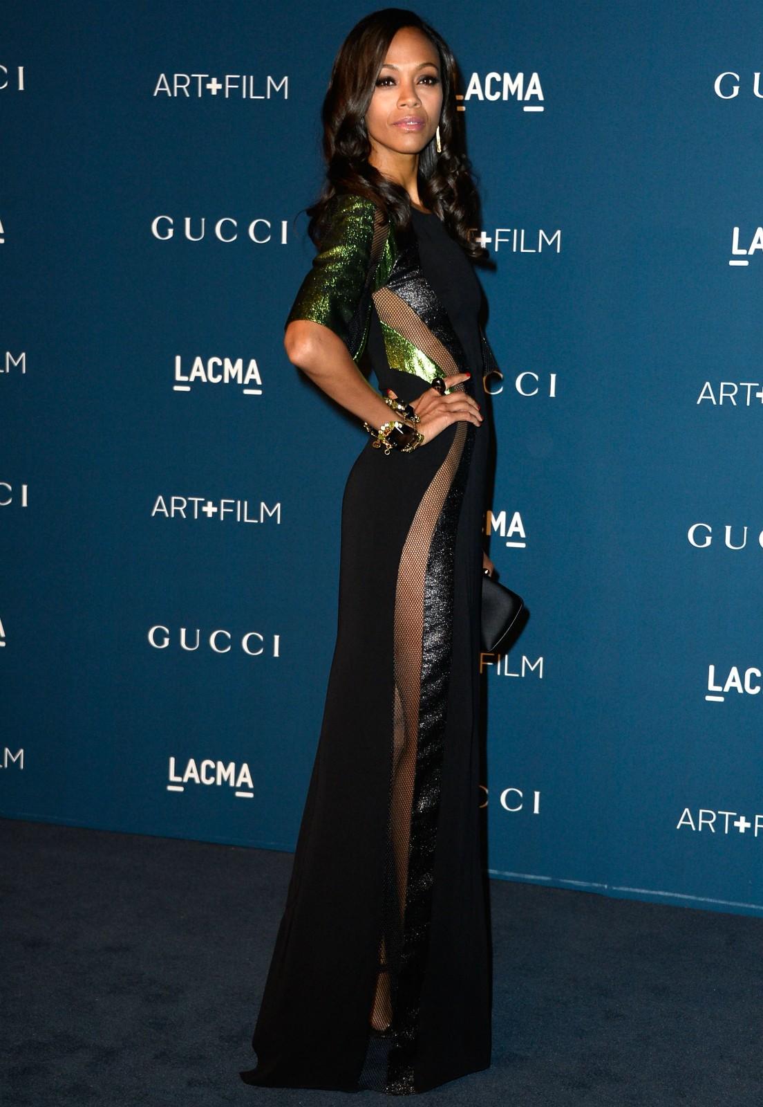 A atriz Zoe Saldana em um baile de gala no Museu de Arte do Condado de Los Angeles, em novembro de 2013. (Foto: Getty Images)