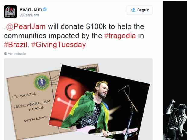 Pearl Jam anuncia ajuda a comunidades afetadas por rompimento de barragem (Foto: Pearl Jam/Reprodução Twitter)