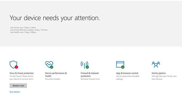 Windows Defender Security Center vai concentrar todas as informações de segurança e proteção do computador (Foto: Divulgação/Microsoft)