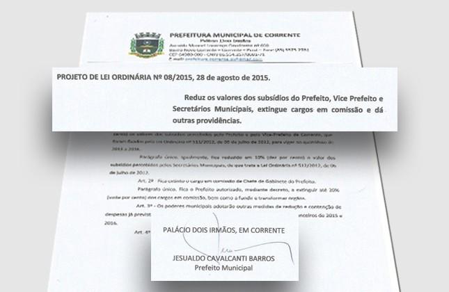 Projeto de Lei reduz salário do prefeito, vice e secretários no Piauí (Foto: Reprodução/Prefeitura Municipal de Corrente)