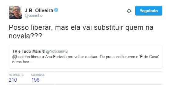 Boninho brinca após pedido de Ana Furtado em novela: 'Substituir quem?' (Foto: Reprodução / Twitter)