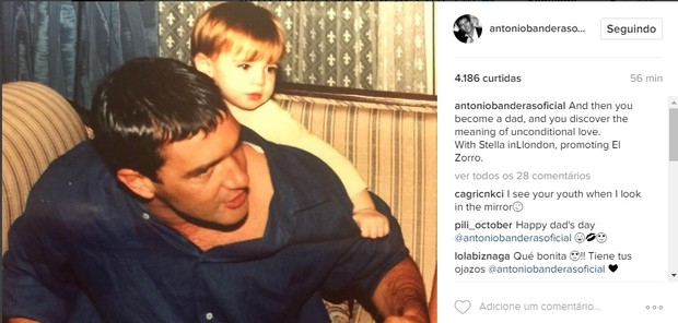 Antonio Banderas festeja Dia dos pais (Foto: Reprodução/Instagram)