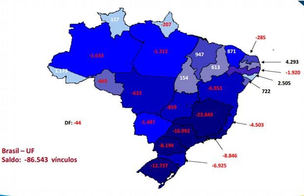 Mapa do Ministério do Trabalho mostra o saldo de demissões e contratações por estado (Foto: Divulgação)
