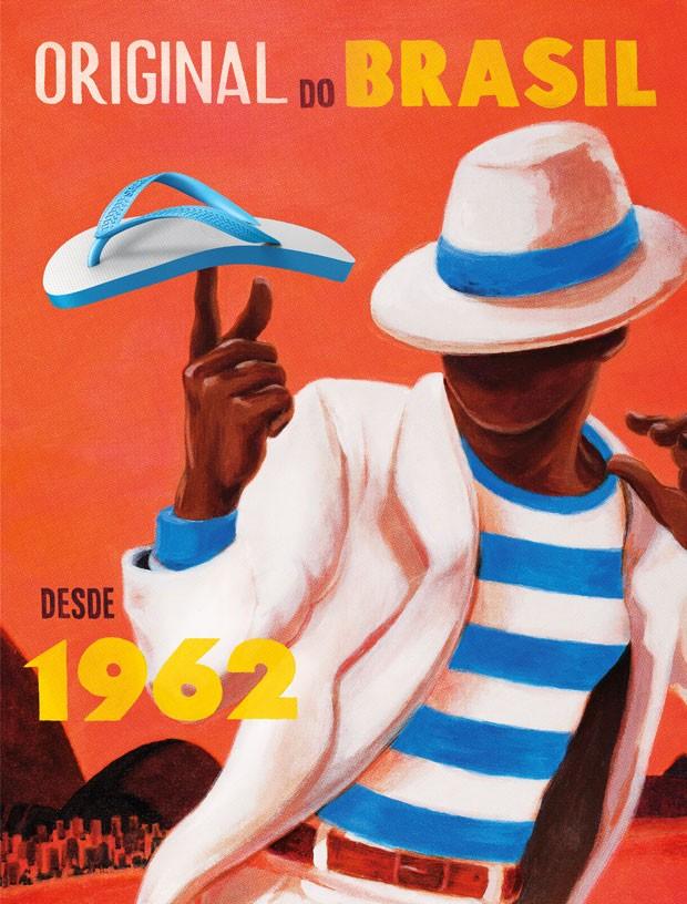 Campanha da Havaianas inclui pôsteres e traz a assinatura 'Original do Brasil desde 1962'. (Foto: Divulgação)