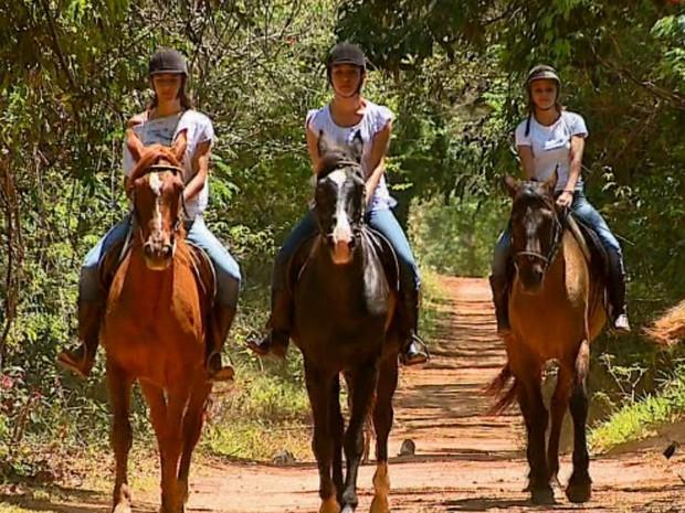 b821748cb Meninas do mangalarga iniciaram no hipismo há sete anos (Foto  Ely Venâncio    EPTV