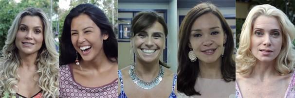 Flavia Alessandra, Yanna Lavigne, Giovanna Antonelli, Julia Lemmertz e Leticia Spiller mandam recado (Foto: Globo)