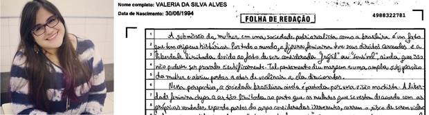 Trecho da redação da estudante Valéria da Silva Alves (Foto: Arquivo pessoal/ Reprodução)