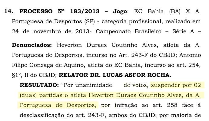 Documento Julgamento Portuguesa (Foto: Reprodução)