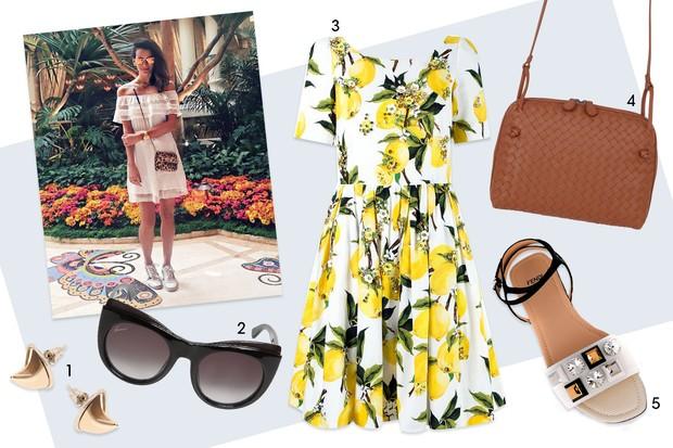 Almoço: brinco Givenchy, R$ 767 (Luisaviaroma.com); (2) óculos Gucci, R$ 827 (Luisaviaroma.com); (3) vestido Dolce & Gabbana, R$ 31.000 (Farfetch.com); (4) bolsa Bottega Veneta, R$ 5.860 (Luisaviaroma.com); e (5) sandália Fendi, R$ 3.470 (Farfetch.com). (Foto: Arte Vogue Online)