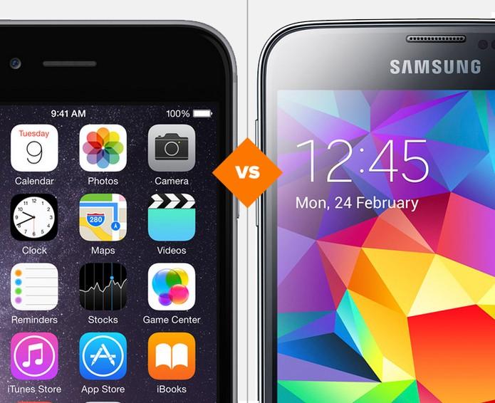 iPhone 6 e Galaxy S5? Quem vence a batalha? (Foto: Arte/TechTudo)
