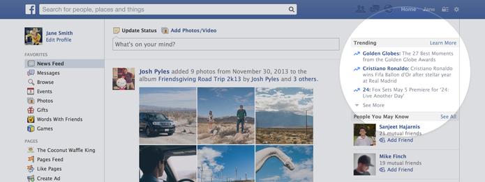 Trending do Facebook, na versão web (Foto: Reprodução/Facebook)