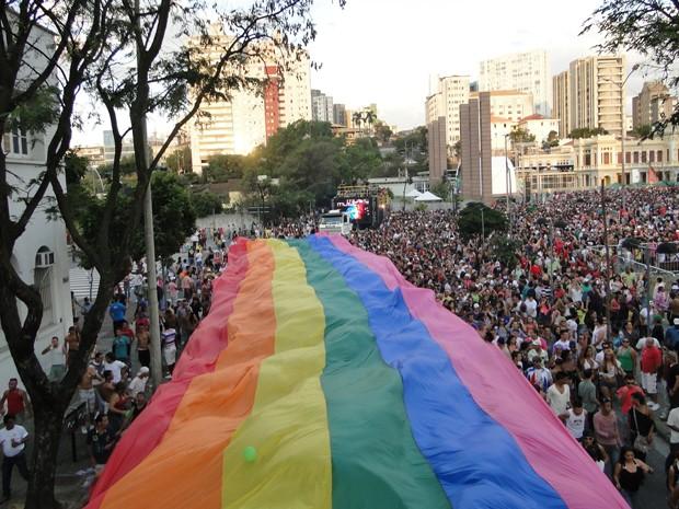 Com a bandeira aberta, público da Parada do Orgulho Gay deixou a Praça da Estação e percorreu ruas de Belo Horizonte. (Foto: Flávia Cristini/G1 MG)