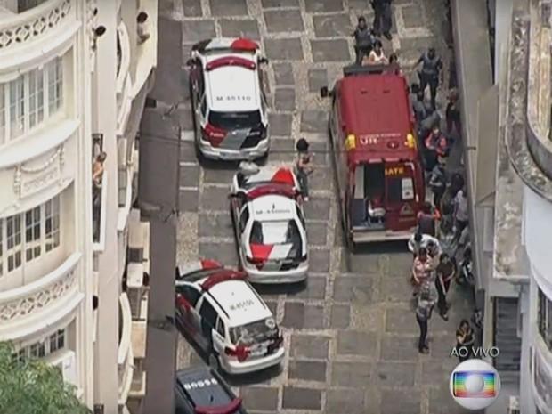 Operação da polícia no centro de São Paulo (Foto: TV Globo/Reprodução)