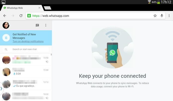 WhatsApp Web ativado no tablet (Foto: Reprodução/Lívia Dâmaso)