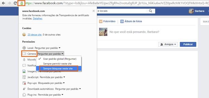 Acesse o menu de permissões e bloqueie a câmera no Facebook (Foto: Reprodução/Barbara Mannara)