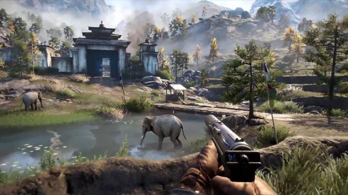 Far Cry 4 traz belos mundos abertos e uma rica fauna, completa com elefantes, tigres e mais (Foto: Divulgação)