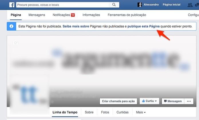 Link rápido para a ativação da página. (Foto: Reprodução/Alessandro Junior)
