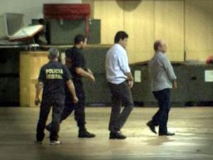 Eder Moraes e José Riva foram presos durante a Operação Ararath, em Cuiabá (Foto: Reprodução/TVCA)