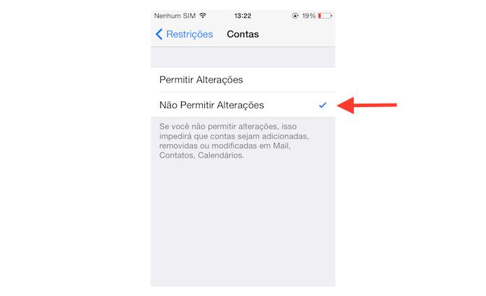 Ativando as restrições de contas vinculadas ao iOS (Foto: Reprodução/Marvin Costa)