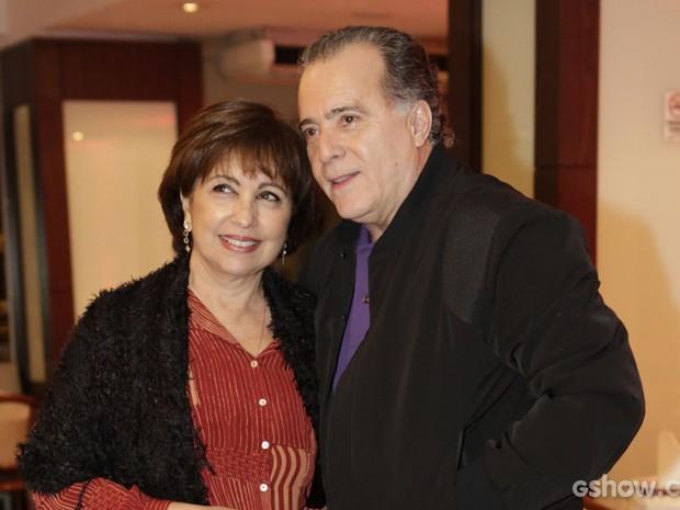 Tony Ramos chegou acompanhado da esposa, Lidiane Barbosa (Foto: Fábio Rocha / TV Globo)