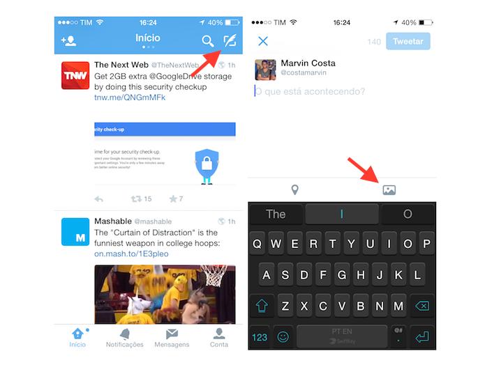 Acessando a ferramenta de upload de imagem e vídeo do Twitter para iOS (Foto: Reprodução/Marvin Costa)