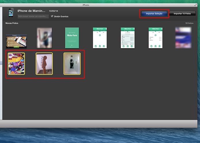 Selecionando as fotos do iPhone que deseja importar para o Mac através do iPhoto (Foto: Reprodução/Marvin Costa)