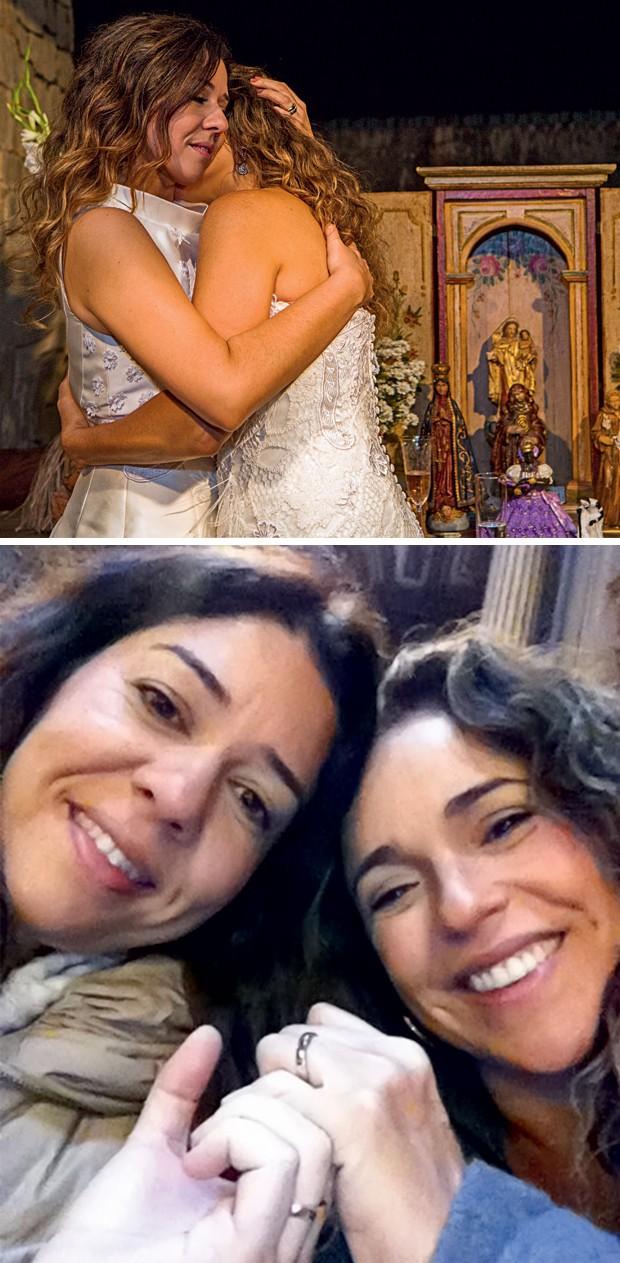INTIMIDADE REVELADA Malu, à esquerda, abraça Daniela na cerimônia de casamento das duas, em 12 de outubro (acima). Ao lado, as duas mostram suas alianças, em Paris. Elas dizem que, na divisão de tarefas domésticas, não existem conflitos. As duas fazem tud (Foto: Celia Santos e arq. pessoal)