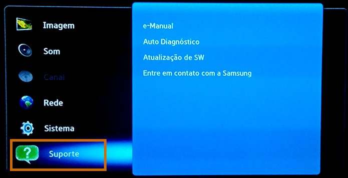 Acesse o menu de Suporte no menu da Smart TV Samsung (Foto: Reprodução/Barbara Mannara)
