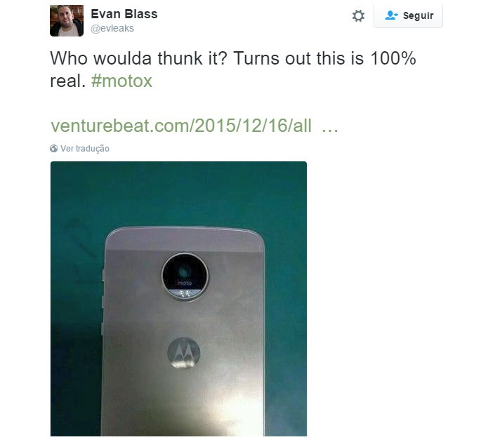 Moto X 4 também poderá ter versão com corpo metálico (Foto: Reprodução/Twitter.com/Evleaks)