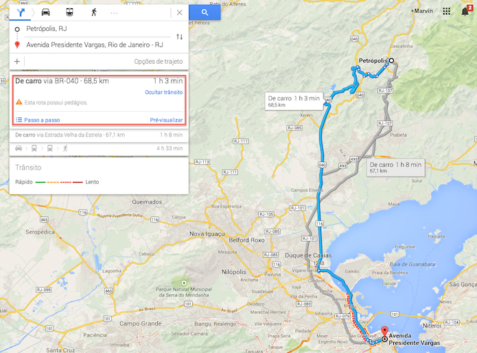 Visualizando a distancia que será percorrida e o tempo sugerido de duração da viagem no Google Maps (Foto: Reprodução/Marvin Costa)