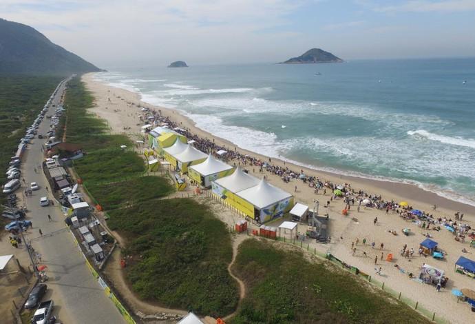 Estrutura do Rio Pro montada em Grumari, na Zona Oeste do Rio de Janeiro (Foto: WSL)
