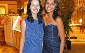 Mariana Rios recebe a visita de Nathalia Dill no set de Araguaia