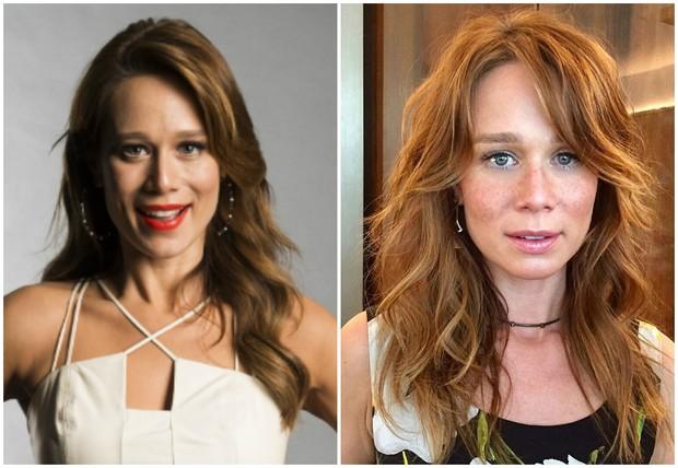 Mariana Ximenes antes e depois de mudar o visual (Foto: Estevam Avellar/Globo/Reprodução/Instagram)