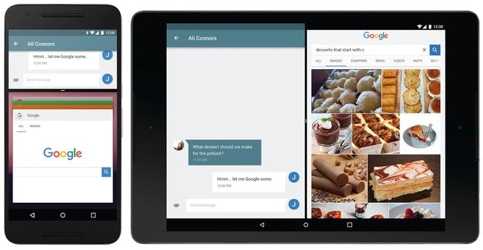 Multi-janela em celular e tablet com Android N (Foto: Divulgação/Google)