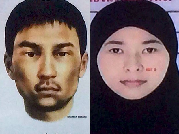 Imagens mostram retrato falado de um dos suspeitos procurados, ainda não identificado e a foto de uma mulher de 26 anos, também uma das procuradas (Foto: Polícia da Tailândia/ Reuters)