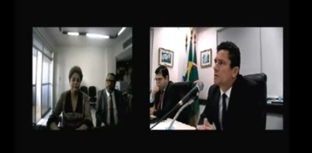 A ex-presidente Dilma Rousseff presta depoimento ao juiz federal Sergio Moro, da Lava Jato (Foto: Reprodução/TV Globo)